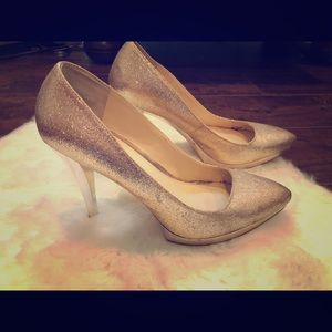Enzo Angiolini gold sparkle heels